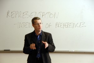 Political science professor Andrew Taylor leads a discussion about Congress during a class in Caldwell Hall.