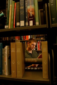 CHASS Honors student John Vance does research in DH Hill Library. PHOTO BY ROGER WINSTEAD